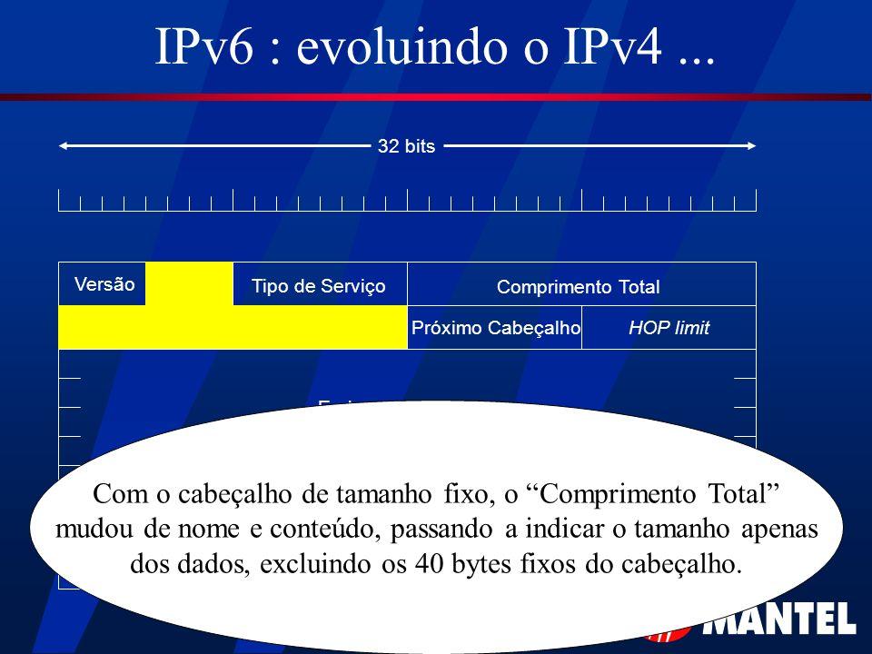 IPv6 : evoluindo o IPv4... Versão Tipo de Serviço Comprimento Total HOP limitPróximo Cabeçalho Endereço de Origem Endereço de Destino 32 bits Com o ca