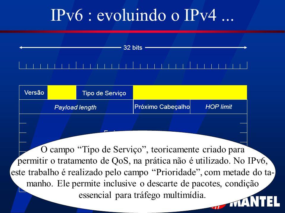 IPv6 : evoluindo o IPv4... Versão Tipo de Serviço Payload length HOP limitPróximo Cabeçalho Endereço de Origem Endereço de Destino 32 bits O campo Tip