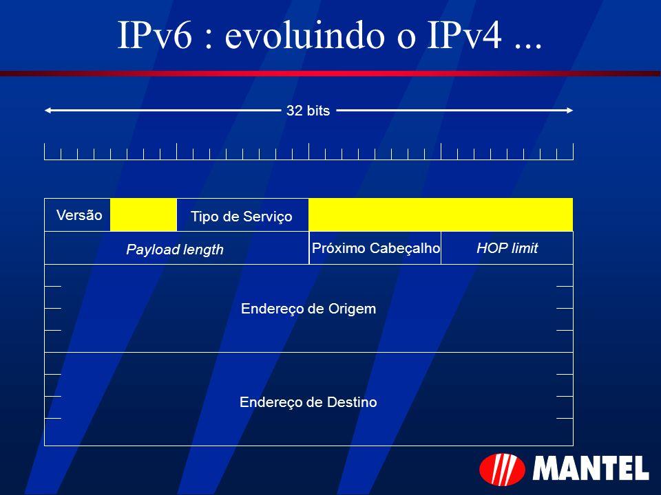 IPv6 : evoluindo o IPv4... Versão Tipo de Serviço Payload length HOP limitPróximo Cabeçalho Endereço de Origem Endereço de Destino 32 bits