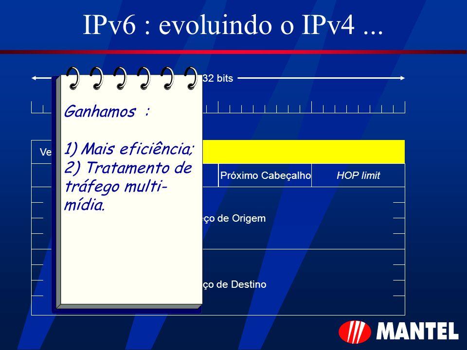 IPv6 : evoluindo o IPv4... Versão Payload length HOP limitPróximo Cabeçalho Endereço de Origem Endereço de Destino 32 bits Prioridade Ganhamos : 1) Ma