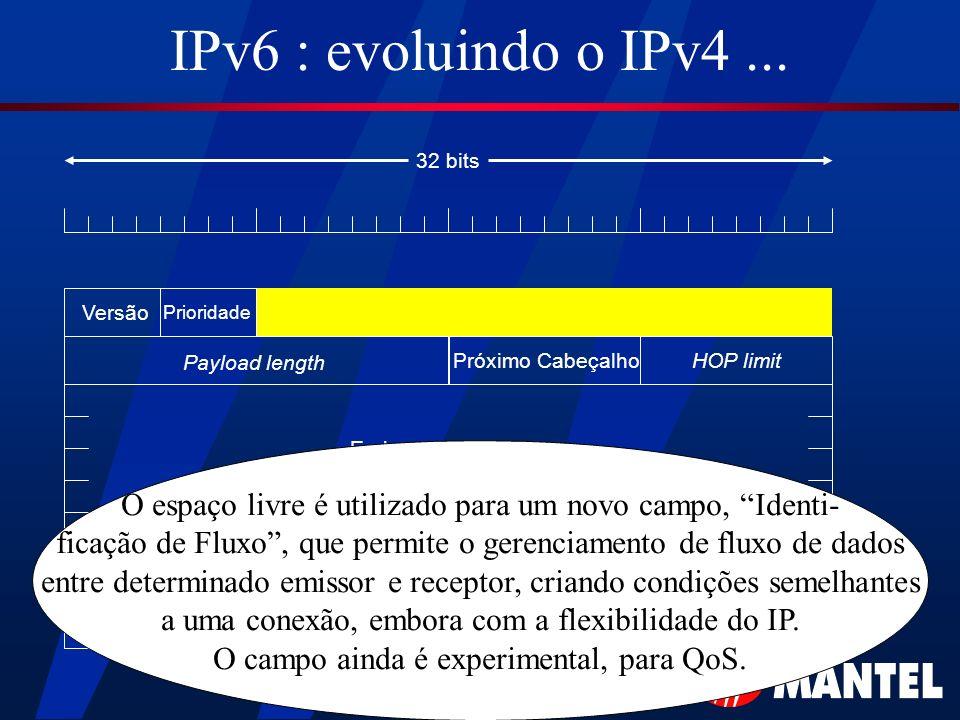 IPv6 : evoluindo o IPv4... Versão Payload length HOP limitPróximo Cabeçalho Endereço de Origem Endereço de Destino 32 bits Prioridade O espaço livre é