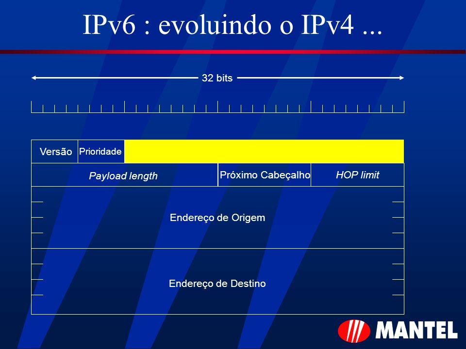 IPv6 : evoluindo o IPv4... Versão Payload length HOP limitPróximo Cabeçalho Endereço de Origem Endereço de Destino 32 bits Prioridade