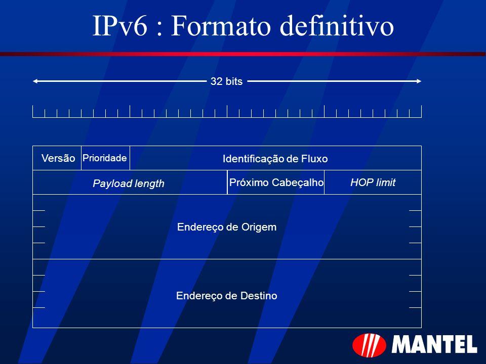 IPv6 : Formato definitivo 32 bits Versão Payload length HOP limitPróximo Cabeçalho Endereço de Origem Endereço de Destino Prioridade Identificação de