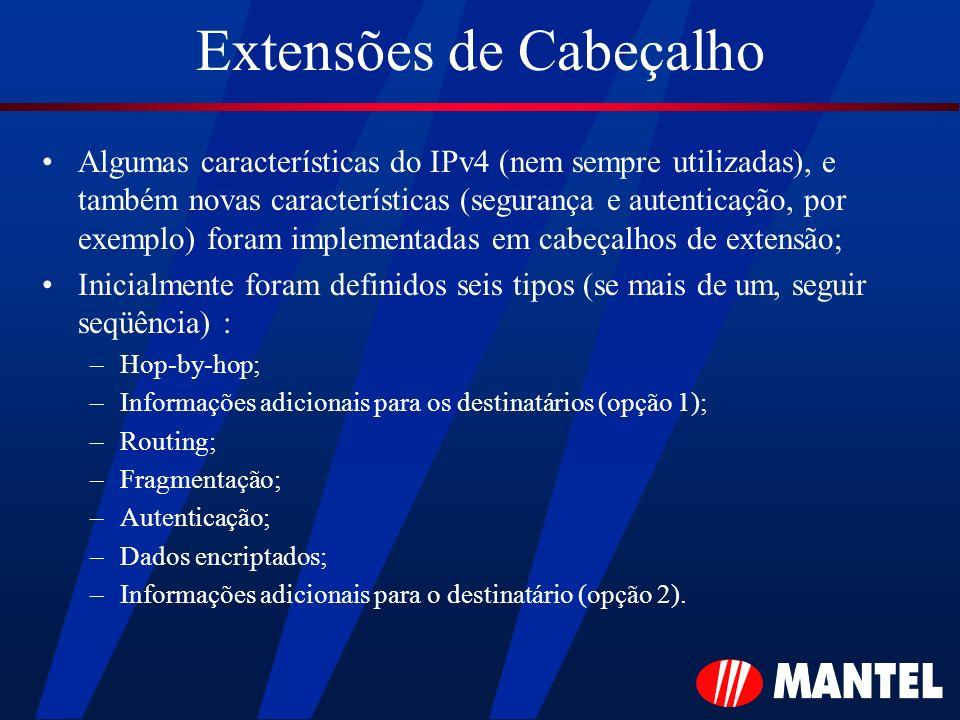 Extensões de Cabeçalho Algumas características do IPv4 (nem sempre utilizadas), e também novas características (segurança e autenticação, por exemplo)