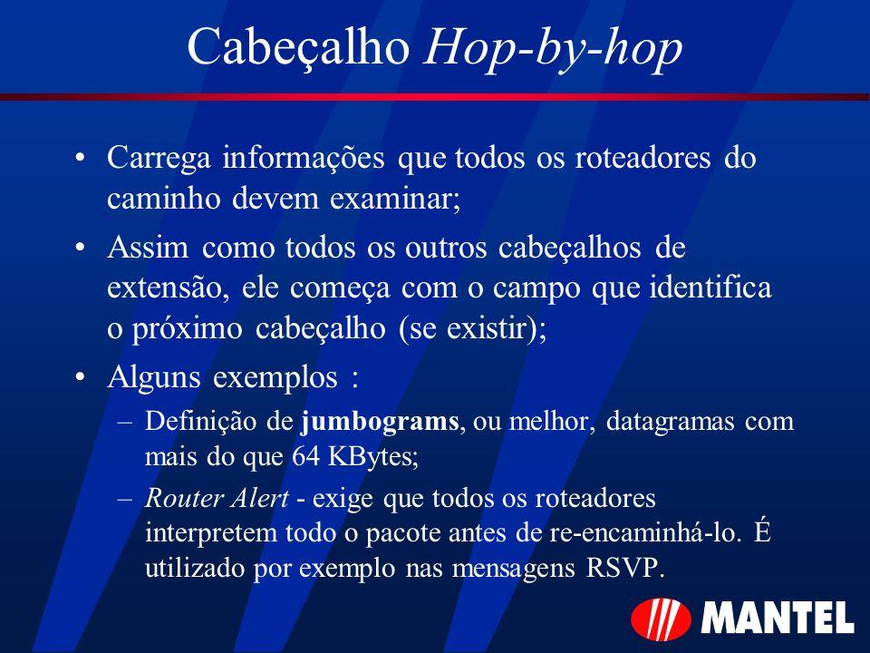 Cabeçalho Hop-by-hop Carrega informações que todos os roteadores do caminho devem examinar; Assim como todos os outros cabeçalhos de extensão, ele com