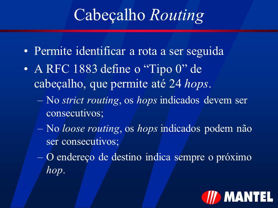 Cabeçalho Routing Permite identificar a rota a ser seguida A RFC 1883 define o Tipo 0 de cabeçalho, que permite até 24 hops. –No strict routing, os ho