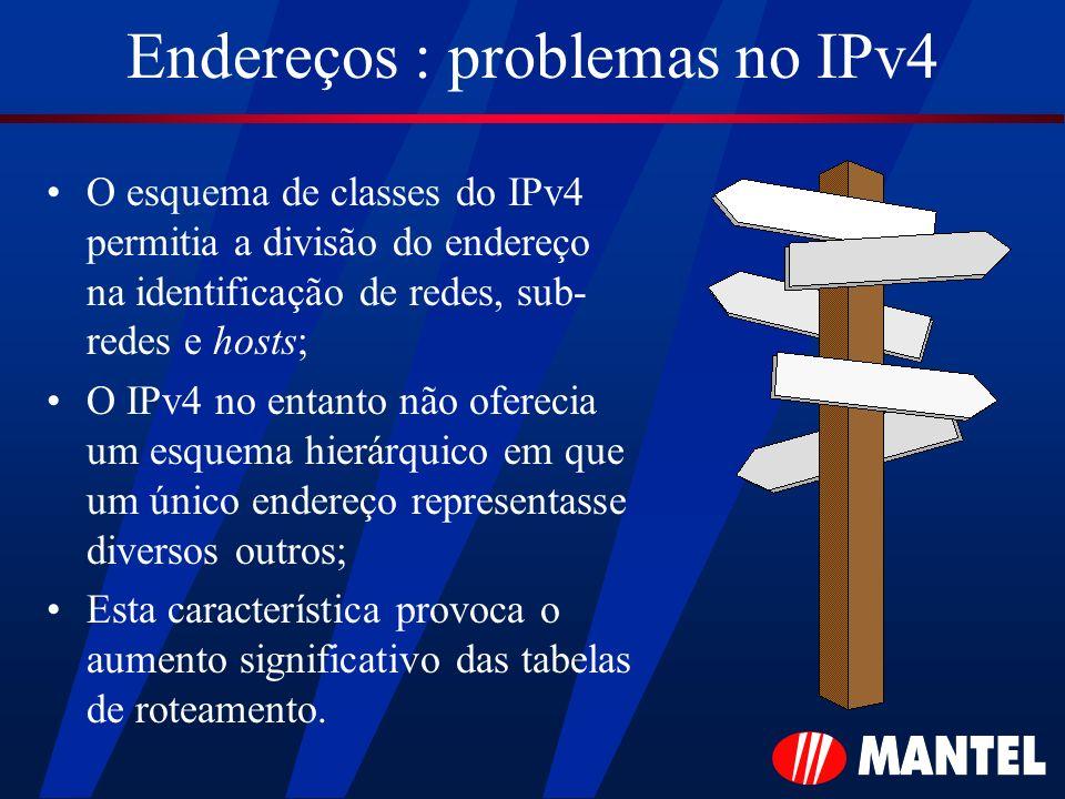 Endereços : problemas no IPv4 O esquema de classes do IPv4 permitia a divisão do endereço na identificação de redes, sub- redes e hosts; O IPv4 no ent