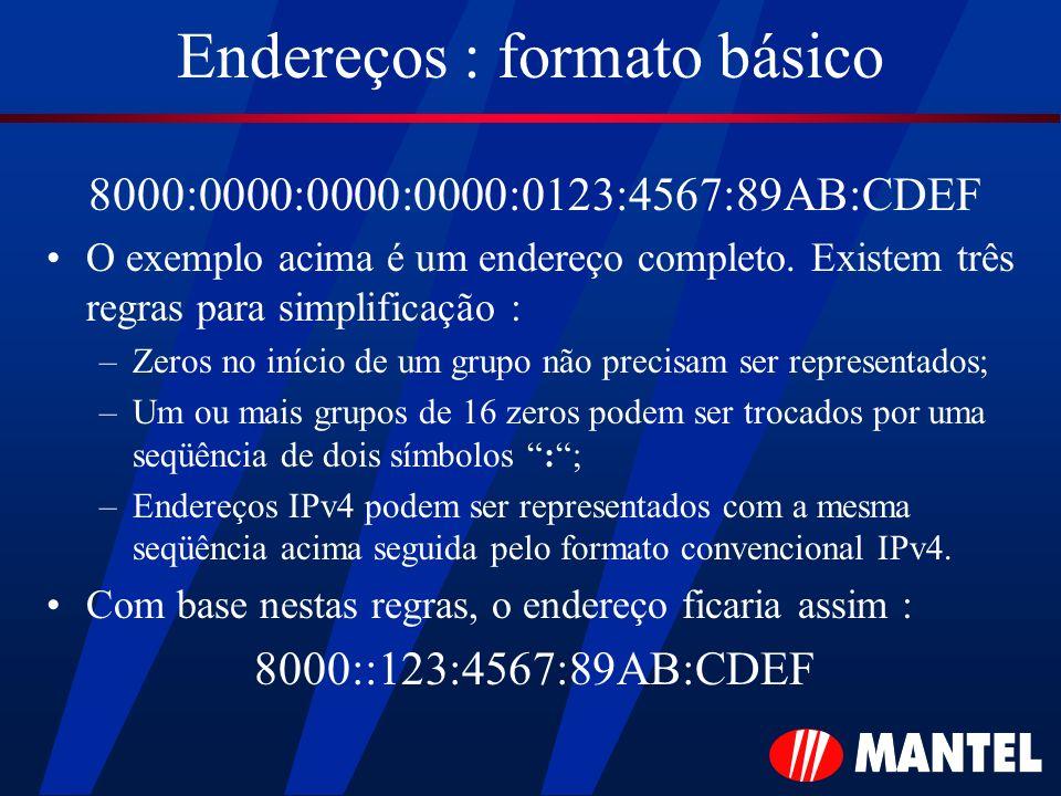Endereços : formato básico 8000:0000:0000:0000:0123:4567:89AB:CDEF O exemplo acima é um endereço completo. Existem três regras para simplificação : –Z