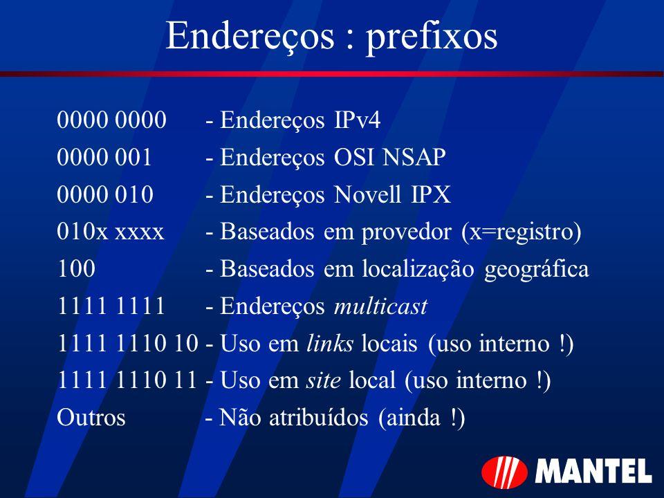 Endereços : prefixos 0000 0000 - Endereços IPv4 0000 001 - Endereços OSI NSAP 0000 010 - Endereços Novell IPX 010x xxxx - Baseados em provedor (x=regi