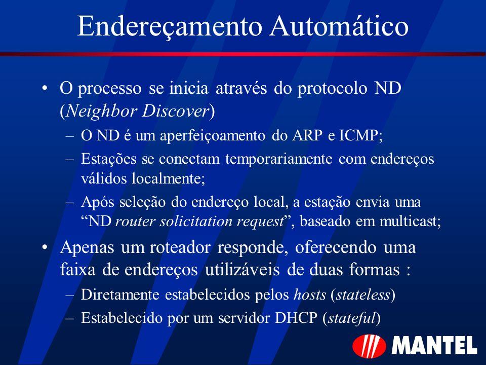 Endereçamento Automático O processo se inicia através do protocolo ND (Neighbor Discover) –O ND é um aperfeiçoamento do ARP e ICMP; –Estações se conec