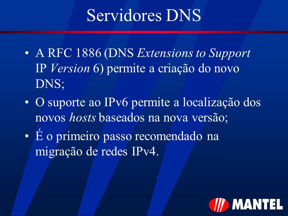 Servidores DNS A RFC 1886 (DNS Extensions to Support IP Version 6) permite a criação do novo DNS; O suporte ao IPv6 permite a localização dos novos ho