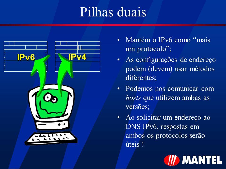 Pilhas duais Mantém o IPv6 como mais um protocolo; As configurações de endereço podem (devem) usar métodos diferentes; Podemos nos comunicar com hosts