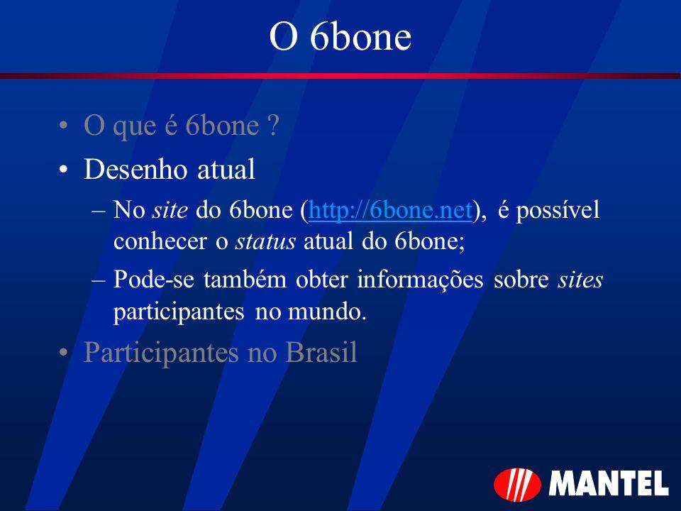 O 6bone O que é 6bone ? Desenho atual –No site do 6bone (http://6bone.net), é possível conhecer o status atual do 6bone; –Pode-se também obter informa