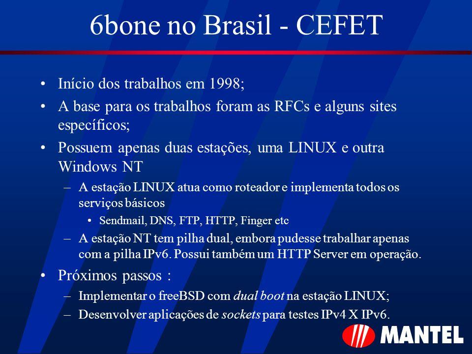 6bone no Brasil - CEFET Início dos trabalhos em 1998; A base para os trabalhos foram as RFCs e alguns sites específicos; Possuem apenas duas estações,