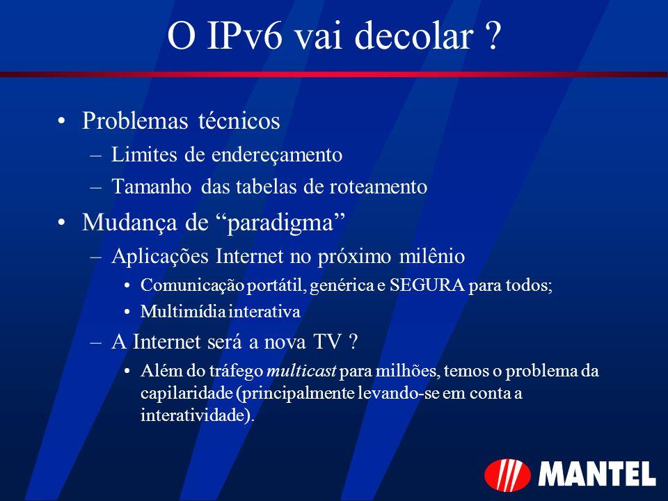 O IPv6 vai decolar ? Problemas técnicos –Limites de endereçamento –Tamanho das tabelas de roteamento Mudança de paradigma –Aplicações Internet no próx