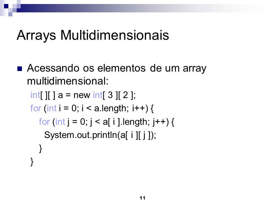 11 Arrays Multidimensionais Acessando os elementos de um array multidimensional: int[ ][ ] a = new int[ 3 ][ 2 ]; for (int i = 0; i < a.length; i++) { for (int j = 0; j < a[ i ].length; j++) { System.out.println(a[ i ][ j ]); }