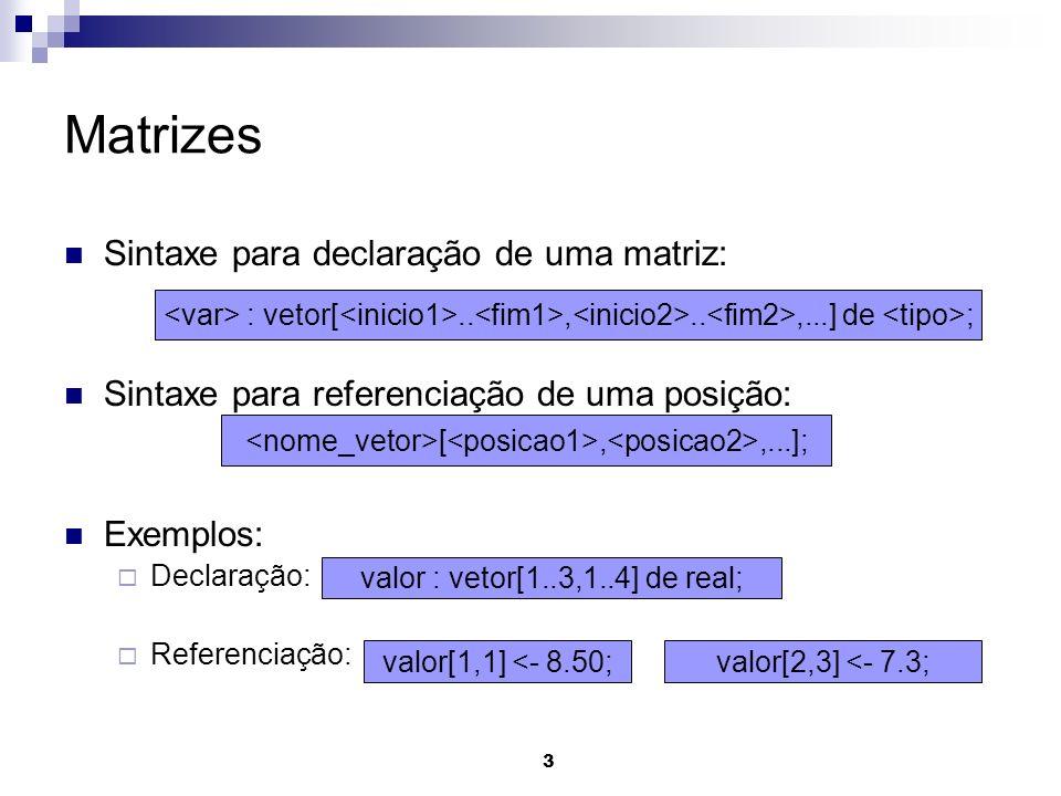 3 Matrizes Sintaxe para declaração de uma matriz: Sintaxe para referenciação de uma posição: Exemplos: Declaração: Referenciação: : vetor[..,..,...] de ; valor : vetor[1..3,1..4] de real; valor[1,1] <- 8.50; [,,...]; valor[2,3] <- 7.3;