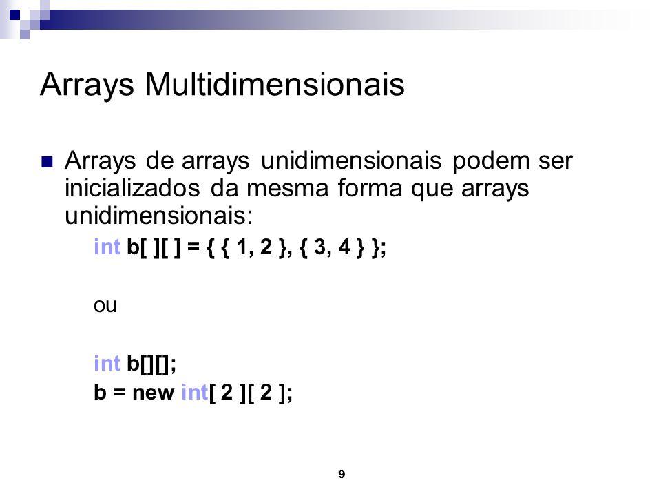 9 Arrays Multidimensionais Arrays de arrays unidimensionais podem ser inicializados da mesma forma que arrays unidimensionais: int b[ ][ ] = { { 1, 2