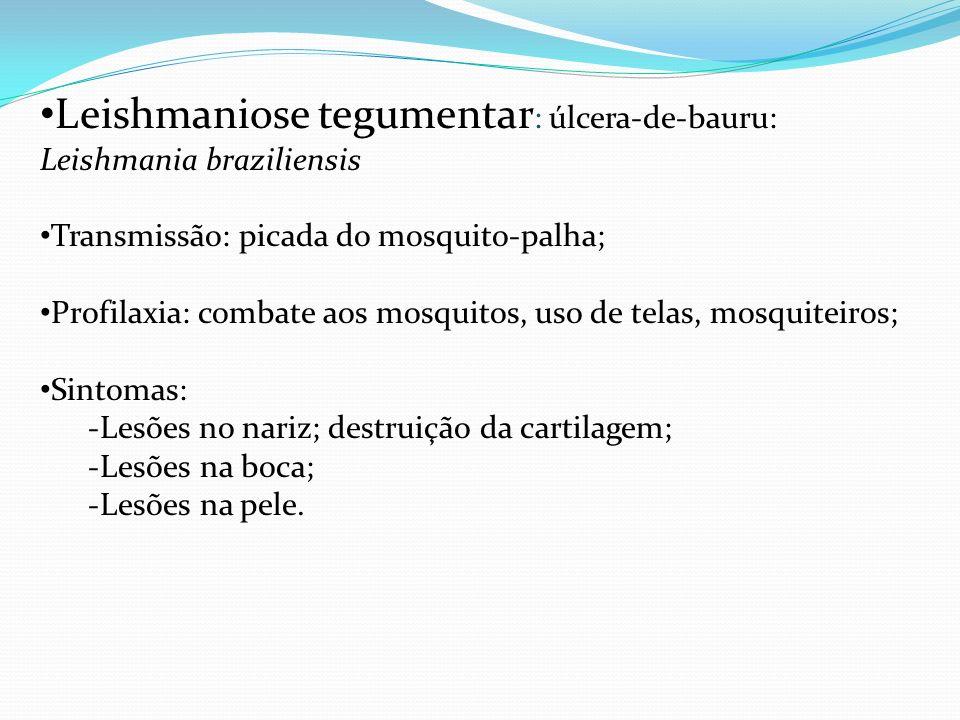 Leishmaniose tegumentar : úlcera-de-bauru: Leishmania braziliensis Transmissão: picada do mosquito-palha; Profilaxia: combate aos mosquitos, uso de te