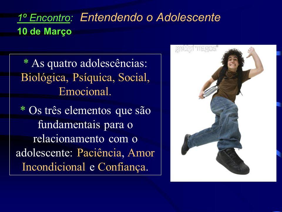 * As quatro adolescências: Biológica, Psíquica, Social, Emocional. * Os três elementos que são fundamentais para o relacionamento com o adolescente: P