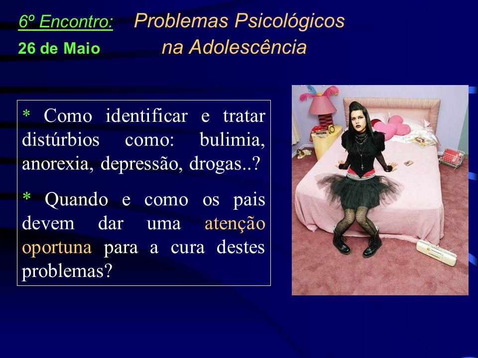 * Como identificar e tratar distúrbios como: bulimia, anorexia, depressão, drogas..? * Quando e como os pais devem dar uma atenção oportuna para a cur