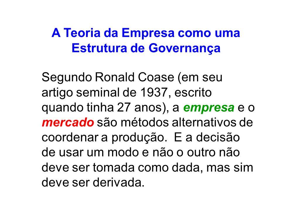 A Teoria da Empresa como uma Estrutura de Governança Segundo Ronald Coase (em seu artigo seminal de 1937, escrito quando tinha 27 anos), a empresa e o mercado são métodos alternativos de coordenar a produção.