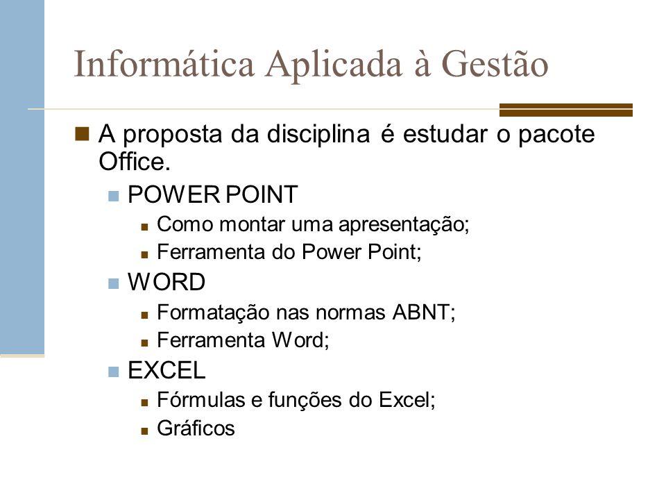 Informática Aplicada à Gestão A proposta da disciplina é estudar o pacote Office. POWER POINT Como montar uma apresentação; Ferramenta do Power Point;