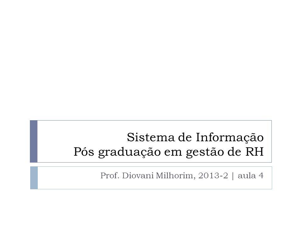 Sistema de Informação Pós graduação em gestão de RH Prof. Diovani Milhorim, 2013-2 | aula 4