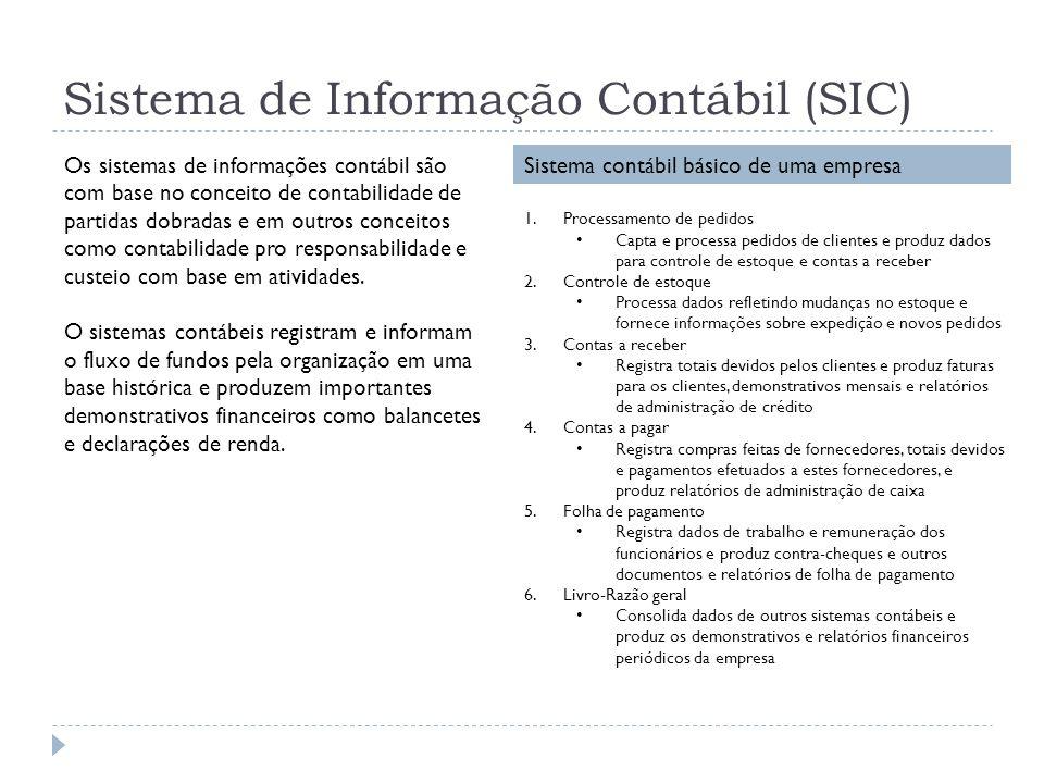 Sistema de Informação Contábil (SIC) Os sistemas de informações contábil são com base no conceito de contabilidade de partidas dobradas e em outros co