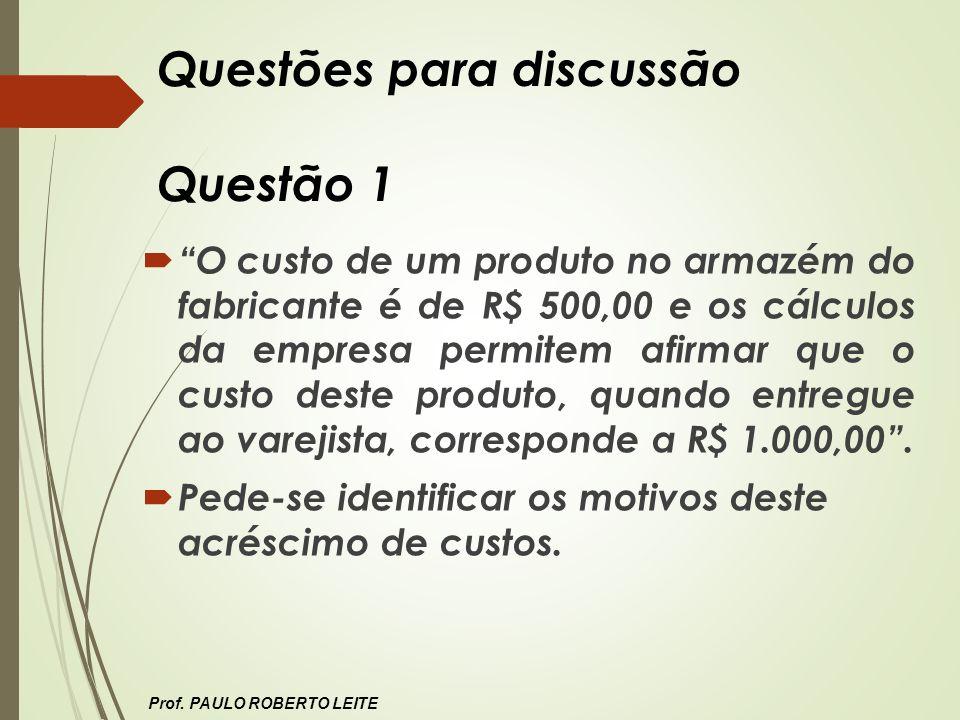 Questões para discussão Questão 1 O custo de um produto no armazém do fabricante é de R$ 500,00 e os cálculos da empresa permitem afirmar que o custo