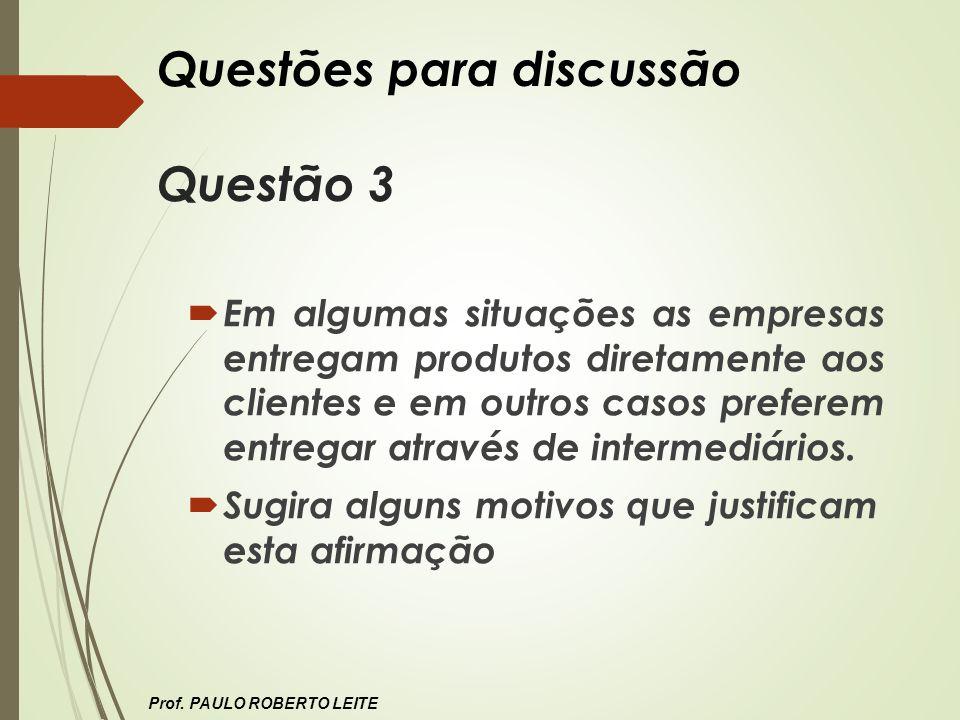 Questões para discussão Questão 3 Em algumas situações as empresas entregam produtos diretamente aos clientes e em outros casos preferem entregar atra
