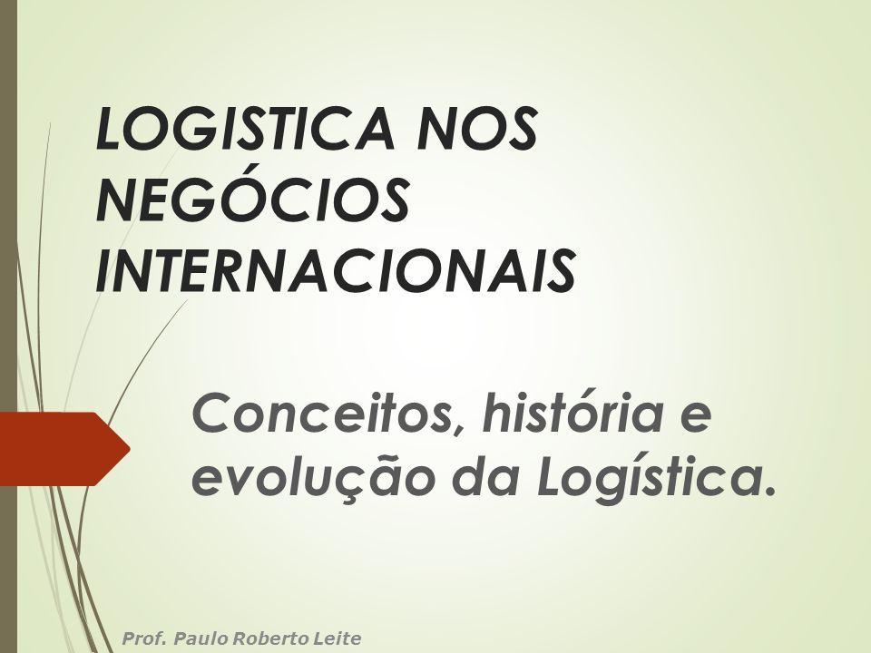LOGISTICA NOS NEGÓCIOS INTERNACIONAIS Conceitos, história e evolução da Logística. Prof. Paulo Roberto Leite