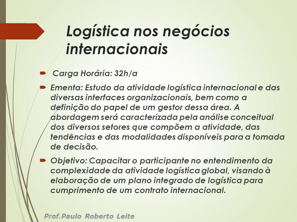 Logística nos negócios internacionais Carga Horária: 32h/a Ementa: Estudo da atividade logística internacional e das diversas interfaces organizaciona