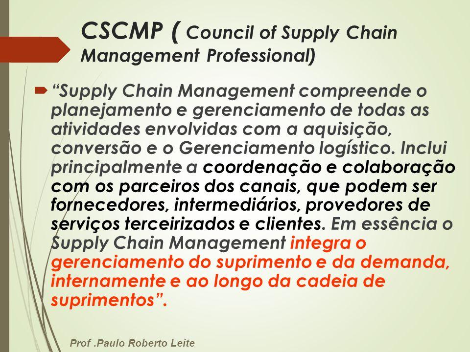 Prof.Paulo Roberto Leite CSCMP ( Council of Supply Chain Management Professional) Supply Chain Management compreende o planejamento e gerenciamento de