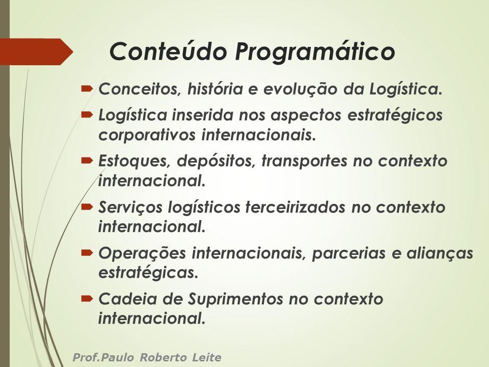 Conteúdo Programático Conceitos, história e evolução da Logística. Logística inserida nos aspectos estratégicos corporativos internacionais. Estoques,