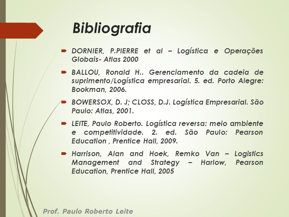 Bibliografia DORNIER, P.PIERRE et al – Logística e Operações Globais- Atlas 2000 BALLOU, Ronald H.. Gerenciamento da cadeia de suprimento/Logística em