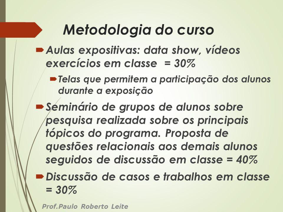 Metodologia do curso Aulas expositivas: data show, vídeos exercícios em classe = 30% Telas que permitem a participação dos alunos durante a exposição