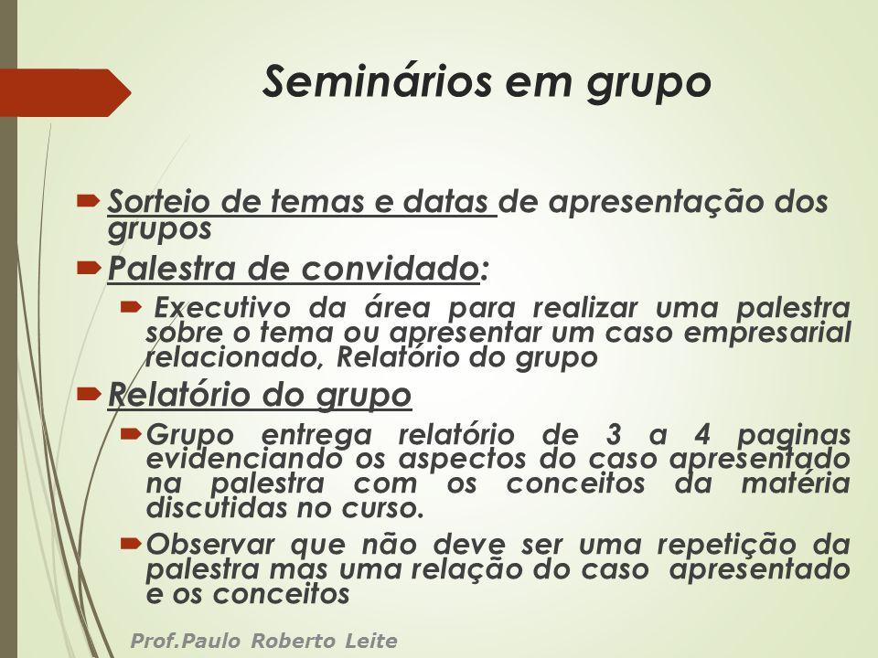 Seminários em grupo Sorteio de temas e datas de apresentação dos grupos Palestra de convidado: Executivo da área para realizar uma palestra sobre o te