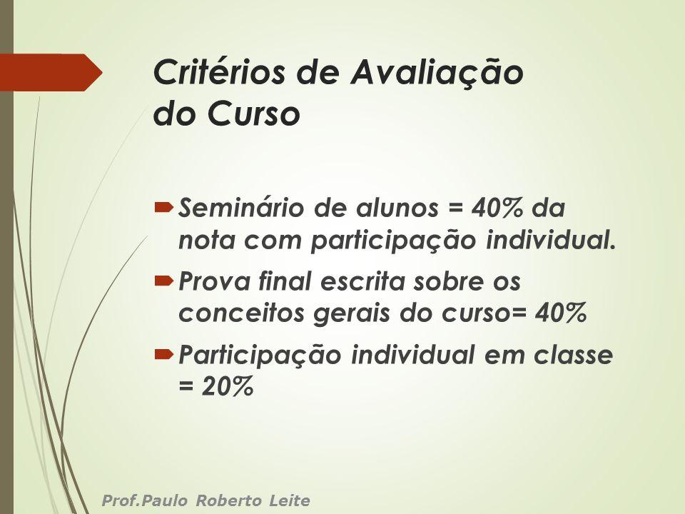 Critérios de Avaliação do Curso Seminário de alunos = 40% da nota com participação individual. Prova final escrita sobre os conceitos gerais do curso=
