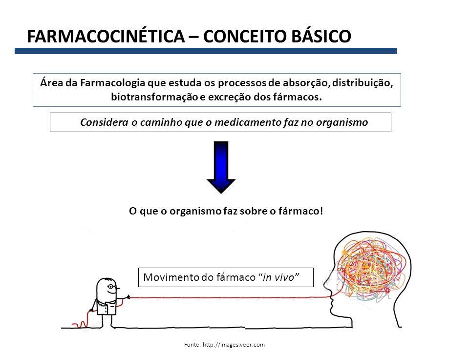 FARMACOCINÉTICA – CONCEITO BÁSICO Fonte: http://images.veer.com Área da Farmacologia que estuda os processos de absorção, distribuição, biotransformação e excreção dos fármacos.