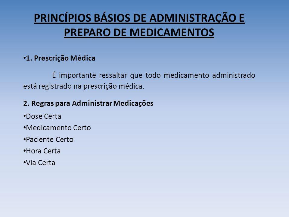 PRINCÍPIOS BÁSIOS DE ADMINISTRAÇÃO E PREPARO DE MEDICAMENTOS 1.