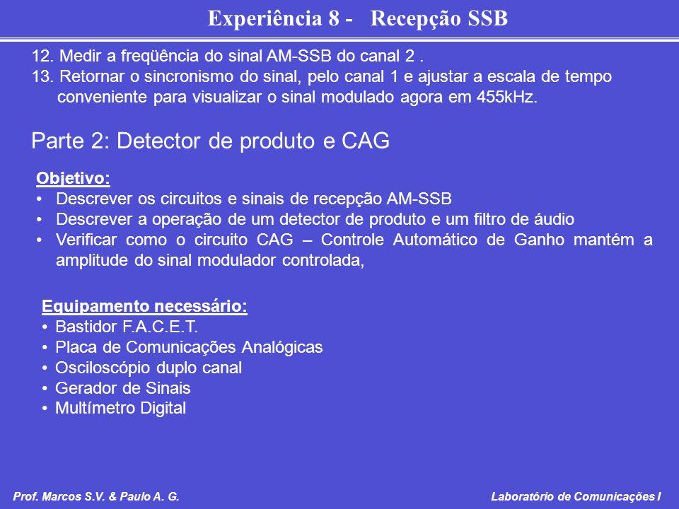 Experiência 8 - Recepção SSB Prof. Marcos S.V. & Paulo A. G. Laboratório de Comunicações I 12. Medir a freqüência do sinal AM-SSB do canal 2. 13. Reto