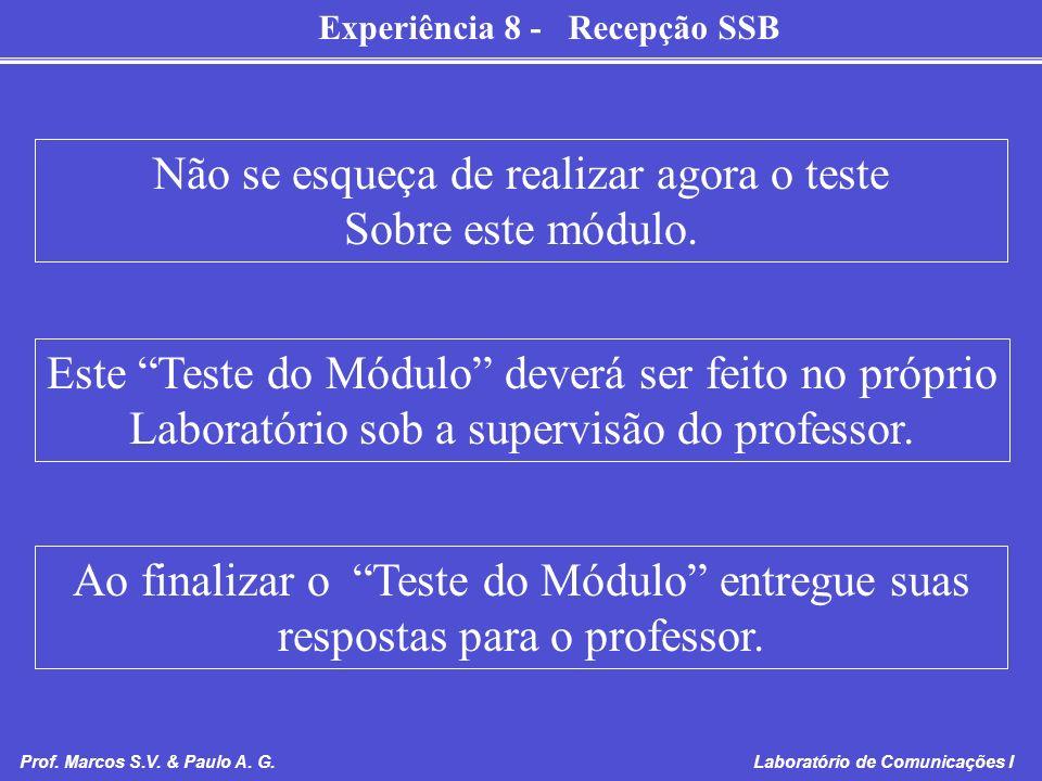 Experiência 8 - Recepção SSB Prof. Marcos S.V. & Paulo A. G. Laboratório de Comunicações I Não se esqueça de realizar agora o teste Sobre este módulo.