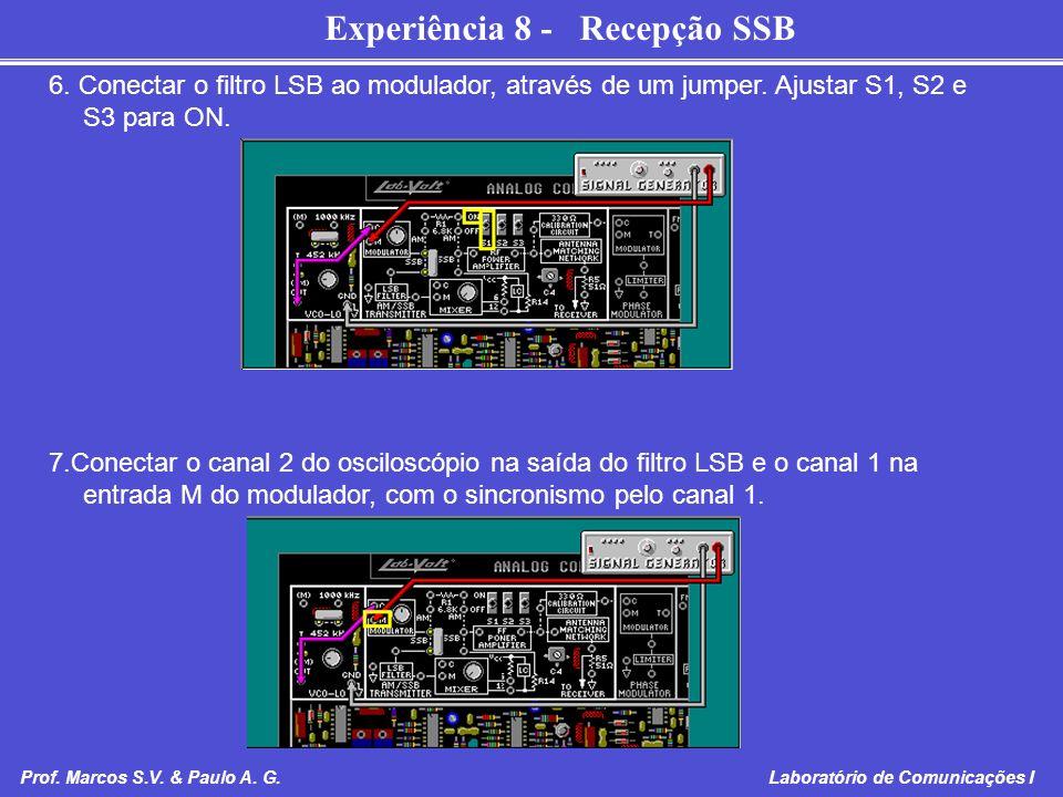 Experiência 8 - Recepção SSB Prof. Marcos S.V. & Paulo A. G. Laboratório de Comunicações I 6. Conectar o filtro LSB ao modulador, através de um jumper