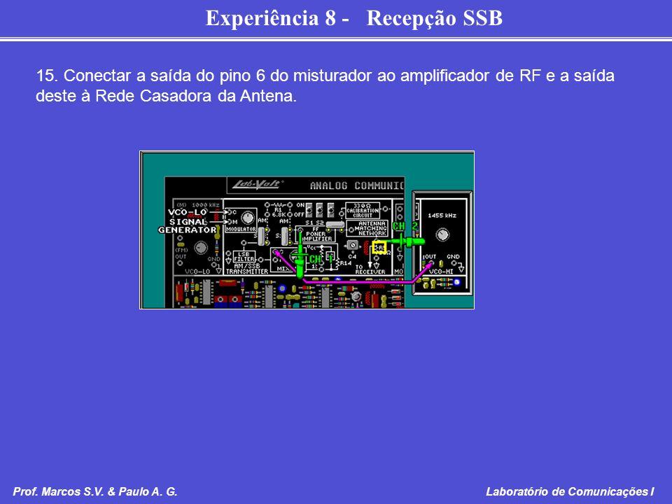 Experiência 8 - Recepção SSB Prof. Marcos S.V. & Paulo A. G. Laboratório de Comunicações I 15. Conectar a saída do pino 6 do misturador ao amplificado