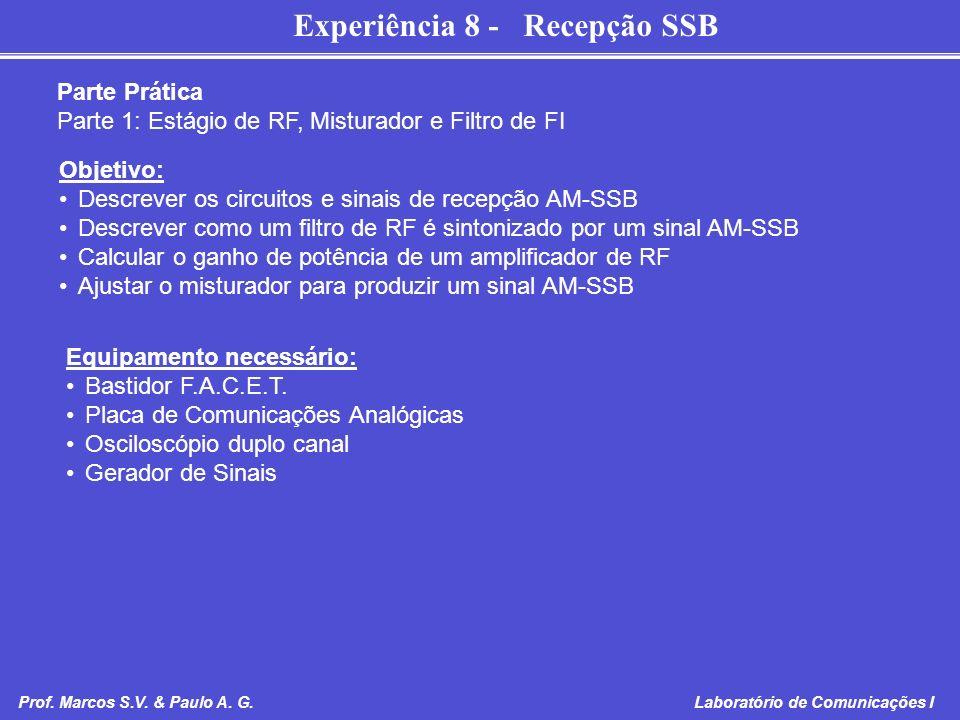 Experiência 8 - Recepção SSB Prof. Marcos S.V. & Paulo A. G. Laboratório de Comunicações I Parte Prática Parte 1: Estágio de RF, Misturador e Filtro d