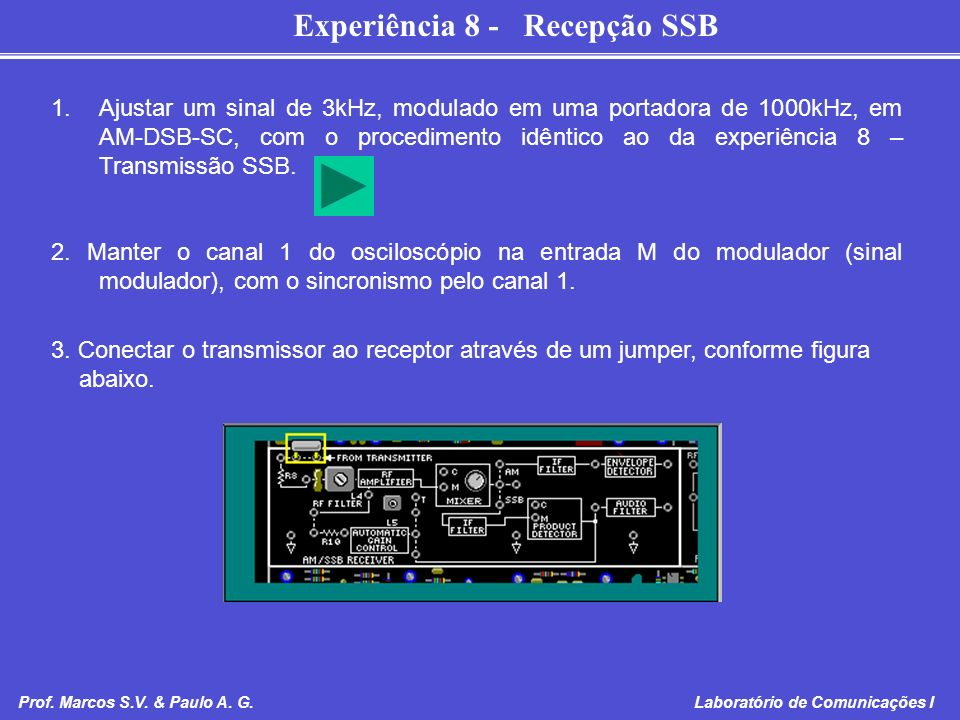 Experiência 8 - Recepção SSB Prof. Marcos S.V. & Paulo A. G. Laboratório de Comunicações I 1.Ajustar um sinal de 3kHz, modulado em uma portadora de 10