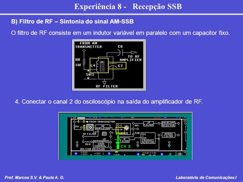 Experiência 8 - Recepção SSB Prof. Marcos S.V. & Paulo A. G. Laboratório de Comunicações I B) Filtro de RF – Sintonia do sinal AM-SSB O filtro de RF c