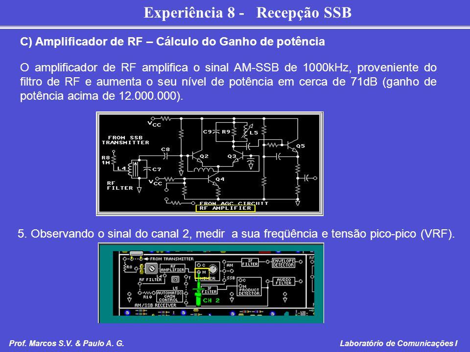 Experiência 8 - Recepção SSB Prof. Marcos S.V. & Paulo A. G. Laboratório de Comunicações I C) Amplificador de RF – Cálculo do Ganho de potência O ampl