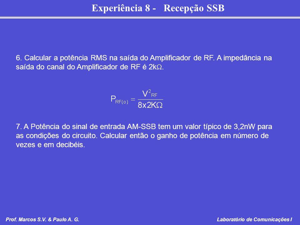 Experiência 8 - Recepção SSB Prof. Marcos S.V. & Paulo A. G. Laboratório de Comunicações I 6. Calcular a potência RMS na saída do Amplificador de RF.
